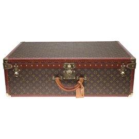 Louis Vuitton-Superbe Valise vintage Louis Vuitton 80cm en toile monogram et lozine marron en très état-Marron