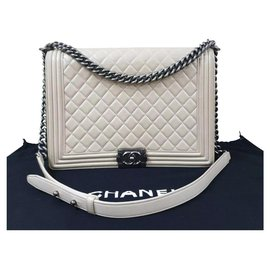 Chanel-CHANEL Boy Xl Beige Shoulder Bag-Beige