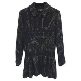 Chanel-CHANEL Runway Black Wool Long Jacket Blazer Coat CC Button Sz.38-Noir