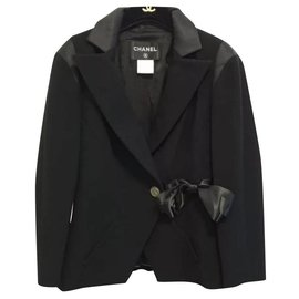 Chanel-Chanel 2000 Runway Black Wool Silk Vintage Jacket Blazer Bow CC Button Sz.38-Black