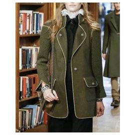 Chanel-Chanel Salzburg Khaki Wool Coat  Sz.36-Khaki