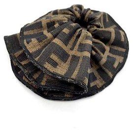 Fendi-Vintage  FF Scrunchie-Khaki