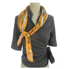 Hermès-Hermès pleated scarf in new silk-Yellow