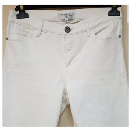 Chanel-Chanel Ecru Jeans Sz.36-Multiple colors