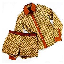 Gucci-Vintage Rare Tom Ford Era monogramme GG & chemise en cuir et short ensemble taille 38-Marron,Beige