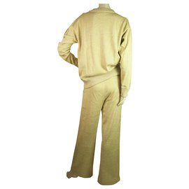 Moncler-Moncler Sweat-shirt à manches longues à col rond métallisé et pantalon Maglia Tricot Girocollo-Doré