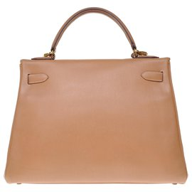 Hermès-Hermès Kelly returned 32cm with courchevel gold leather strap, gold plated metal trim-Golden