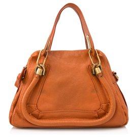 Chloé-Chloe Orange Small Paraty Leather Satchel-Orange