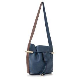 Chloé-Chloe Blue Small Emma Leather Bucket Bag-Brown,Blue