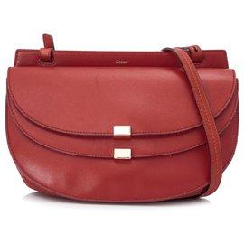 Chloé-Chloe Red Georgia Leather Crossbody Bag-Red