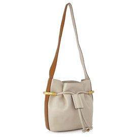 Chloé-Chloe White Small Emma Leather Bucket Bag-Brown,White