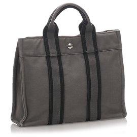 Hermès-Hermes Gray Fourre Tout PM-Blue,Grey
