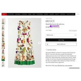 Gucci-nouvelle robe florale en soie magnifique-Multicolore