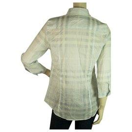 Burberry-Burberry Brit Blue 3/4 sleeves Signature Check Top Button Down Shirt Blouse sz M-Blue