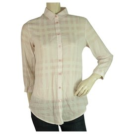 Burberry-Burberry Brit Pink 3/4 sleeves Signature Check Top Button Down Shirt Blouse sz S-Pink