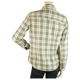Burberry-Burberry London Beige Signature Check Top Button Down Shirt Blouse sz M-Beige
