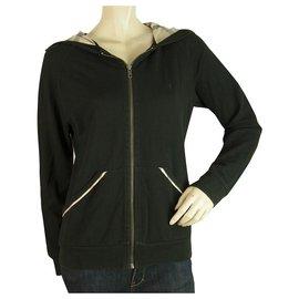 Burberry-Burberry London Black Hooded Check Trim Zipper Closure Lightweight Jacket sz L-Black