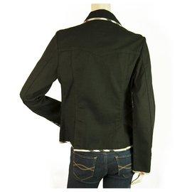Burberry-Burberry London Black Two Button Closure Check Trimming Cotton Jacket 8 US,10 UK-Black