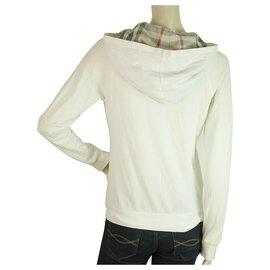 Burberry-Burberry London White Hooded Check Trim Zipper Closure Lightweight Jacket sz M-White