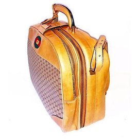 Gucci-Valise Web en cuir et toile Micro GG vintage avec bandoulière-Beige,Caramel