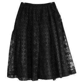 Simone Rocha-Black Flocked Super Full Skirt-Black