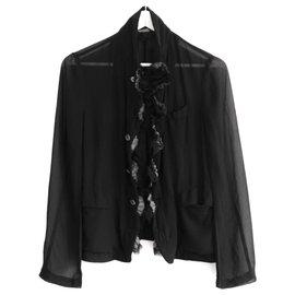 Comme Des Garcons-Vintage 3D Flower Trim Light Jacket-Black