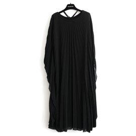 Balenciaga-Pleated Midi Dress-Black