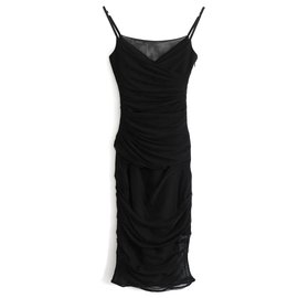 Versace-Crystal Strap Ruched Tulle Dress-Black
