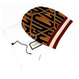 Gucci-Logo Knit Wool Beanie Size M-Brown