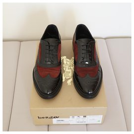 Burberry-Lace ups-Black,Dark red