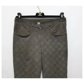 Chanel-Chanel Khaki Suede Pants Sz.36-Khaki