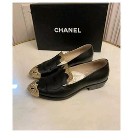 Chanel-Chanel Dallas Leather Loafers Shoes Sz 37-Black,Golden