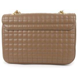 Céline-Celine Brown Medium Quilted C Bag-Brown