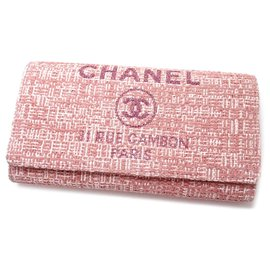 Chanel-Chanel Pink Deauville Long Wallet-Pink,White