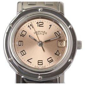 Hermès-Montre Hermes Silver Clipper en acier inoxydable-Argenté,Rose