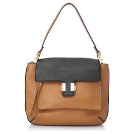 Chloé-Chloe Brown Amelia Leather Shoulder Bag-Brown,Black