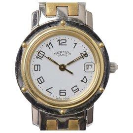 Hermès-Montre Hermes Silver Two-Tone Clipper-Argenté,Doré