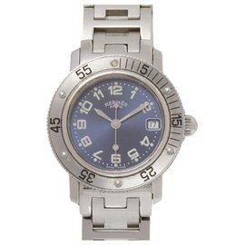 Hermès-Montre de plongée Hermes Silver Clipper-Argenté,Bleu