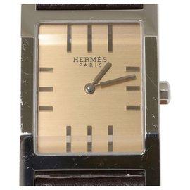 Hermès-Montre Hermès Tandem Argent-Marron,Argenté