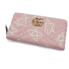 Gucci-Portefeuille Gucci Rose GucciGhost Zip Around-Rose,Blanc