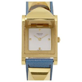 Hermès-Montre Hermes Blue Medor-Bleu,Doré