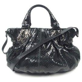 Céline-Celine Black Patent Leather Satchel-Black