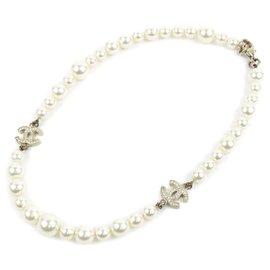Chanel-Collier Chanel Blanc CC Faux Perle-Blanc,Doré