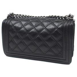 Chanel-Chanel Black Medium Boy Lambskin Leather Flap Bag-Black