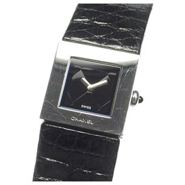 Chanel-Chanel Black Mademoiselle Watch-Black,Silvery