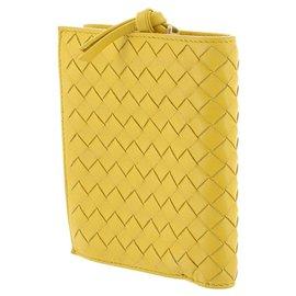Bottega Veneta-Portefeuille en cuir intrecciato jaune Bottega Veneta-Jaune