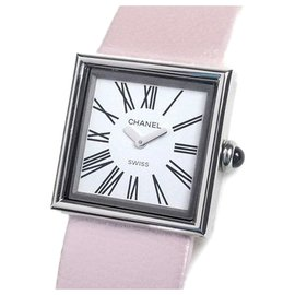 Chanel-Chanel White Mademoiselle Watch-Pink,White