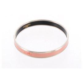 Hermès-Bracelet jonc en émail rose Hermès-Argenté,Rose