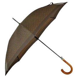 Louis Vuitton-Rare Vintage Monogram Walking Umbrella with Wood Handle-Brown