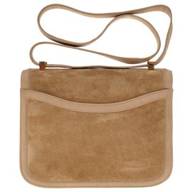 Hermès-Sublime and Rare Hermès Constance in sand-colored Doblis calf leather and clay box, gold plated metal!-Golden